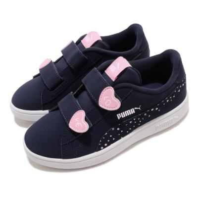 Puma 休閒鞋 Smash V2 Cndy 童鞋 基本款 魔鬼氈 輕便穿搭 小愛心 中童 藍 粉 37318702