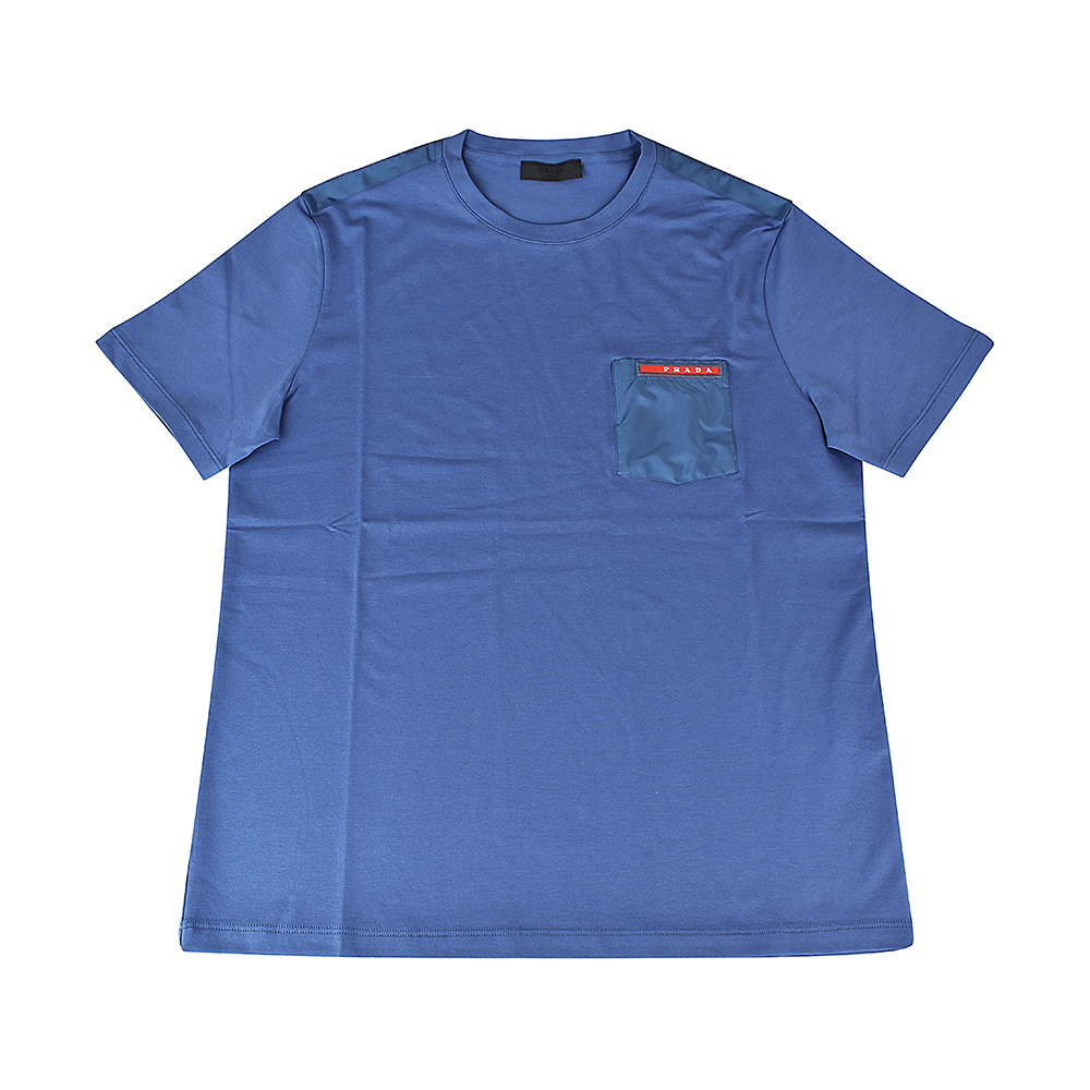 PRADA經典橡膠LOGO拼接口袋純棉短袖T恤(航空藍) @ Y!購物