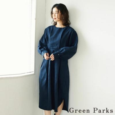 Green Parks 絨面打褶皺褶腰開叉連身洋裝