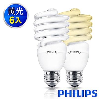 Philips飛利浦 新一代 25W Tornado T2 E27 螺旋省電燈泡 黃光 6入