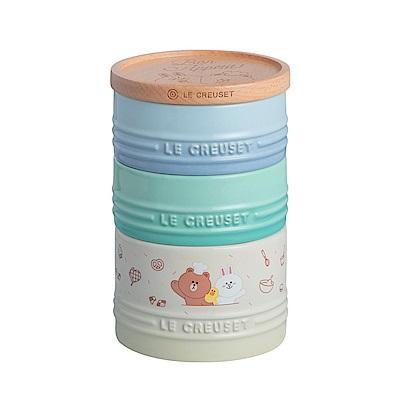 LE CREUSET x LINE FRIENDS 瓷器三層收納罐 (含木蓋)
