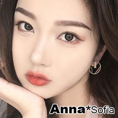 【3件5折】AnnaSofia 韓流釉彩色塊 耳針耳環(圓幾何-紅黑米系)