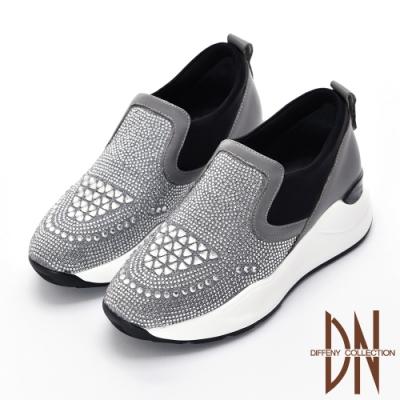 DN休閒鞋_運動風滿鑽異材質厚底休閒鞋-灰