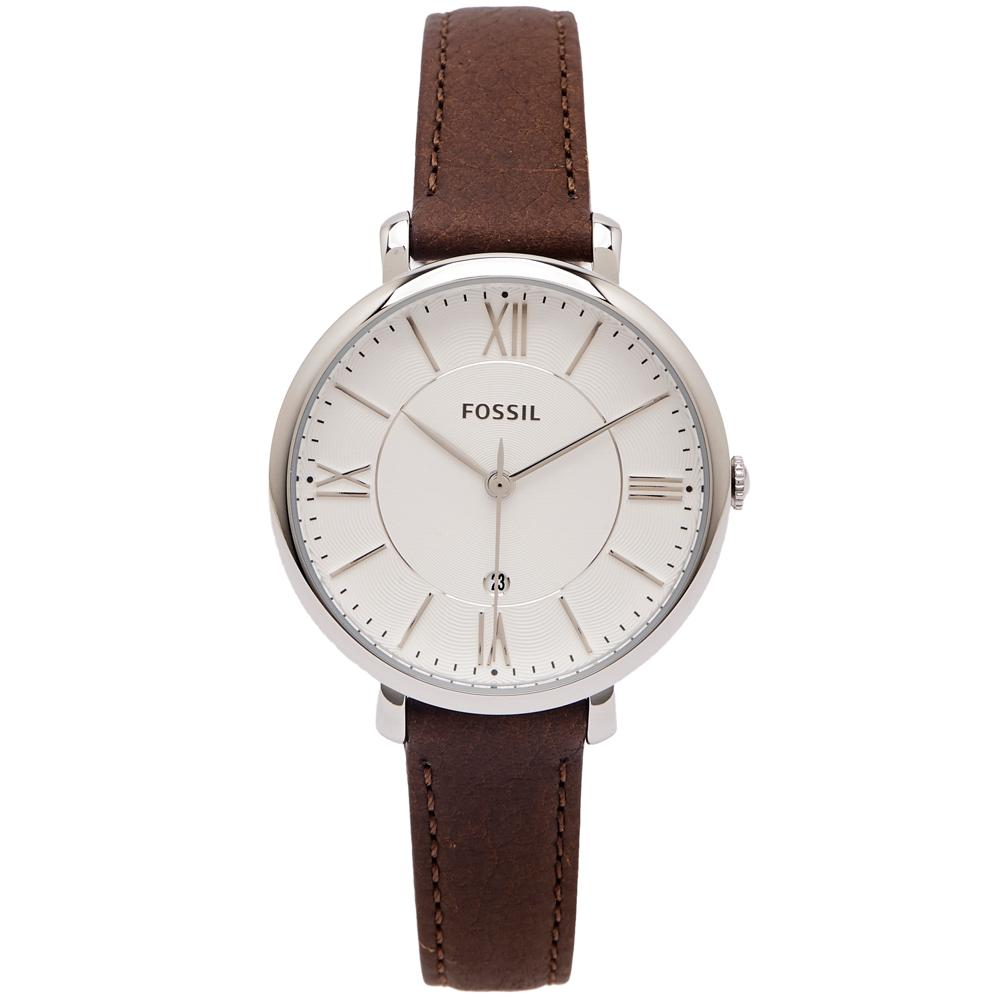 FOSSIL 文青優雅風的皮革女性手錶(ES3708)-白面/35mm