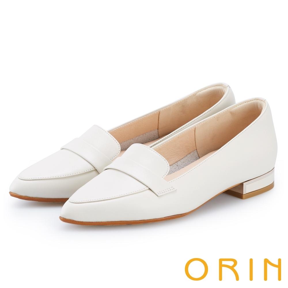 ORIN 品味尖頭牛皮低跟樂福鞋 白色