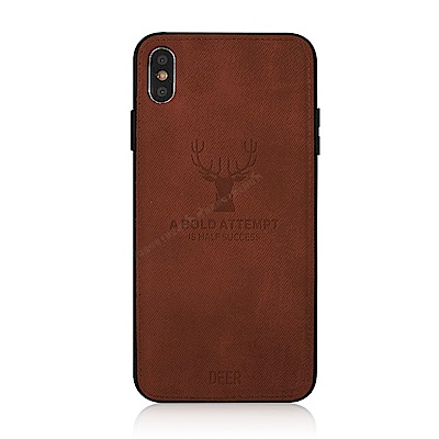 VXTRA iPhone Xs / X 5.8吋 北歐鹿紋防滑手機殼(單品咖啡)