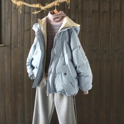 撞色雙門襟假兩件連帽羽絨服寬鬆加厚麵包服外套-設計所在