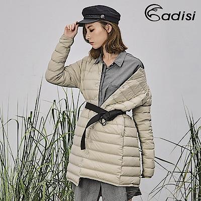 ADISI 女圓領彈性無縫撥水鵝絨長版外套AJ1821077【卡其】