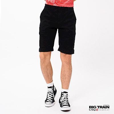 BIG TRAIN 加大基本斜袋舒適休閒色短褲-男-黑色