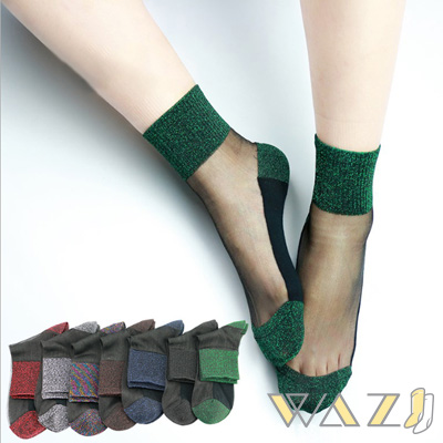 Wazi-金蔥雙色透膚水晶襪短襪 (1組五入)