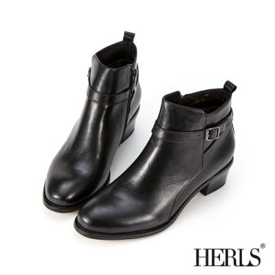 HERLS短靴-歐洲進口牛皮後交叉皮帶釦鐶粗跟短靴-黑色