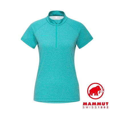 【Mammut 長毛象】Aegility Half Zip T-Shirt 立領半拉鍊短袖排汗衣 暗綠瓷 女款 #1017-01840