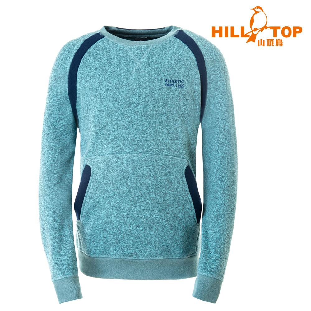 【hilltop山頂鳥】男款 ZISOFIT吸溼快乾保暖刷毛上衣H51MH9綠麻花