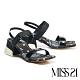 涼鞋 MISS 21 潮感休閒混搭風復古少女方頭粗跟涼鞋-黑 product thumbnail 1