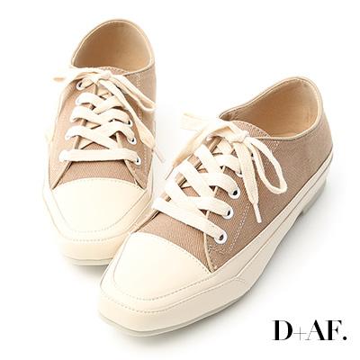 D+AF 自在首選.小方頭多色帆布休閒鞋*杏