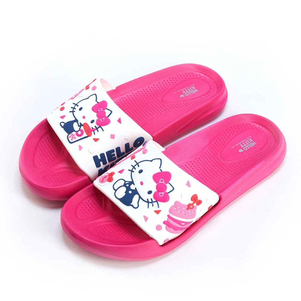 HELLO KITTY艾樂跑女鞋-輕量防水拖鞋-白桃/白黑(919128)