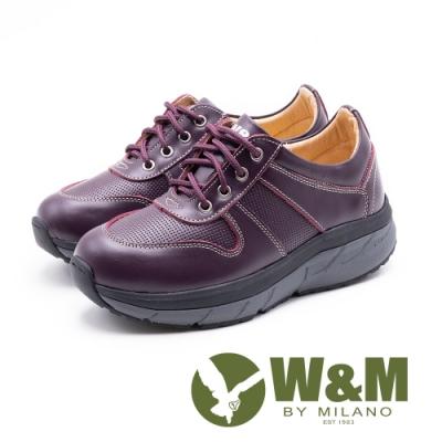 W&M Fit健走系列 繫帶厚底運動休閒女鞋-紫(另有黑)
