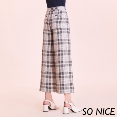 SO NICE都會時尚格紋仿麻寬褲