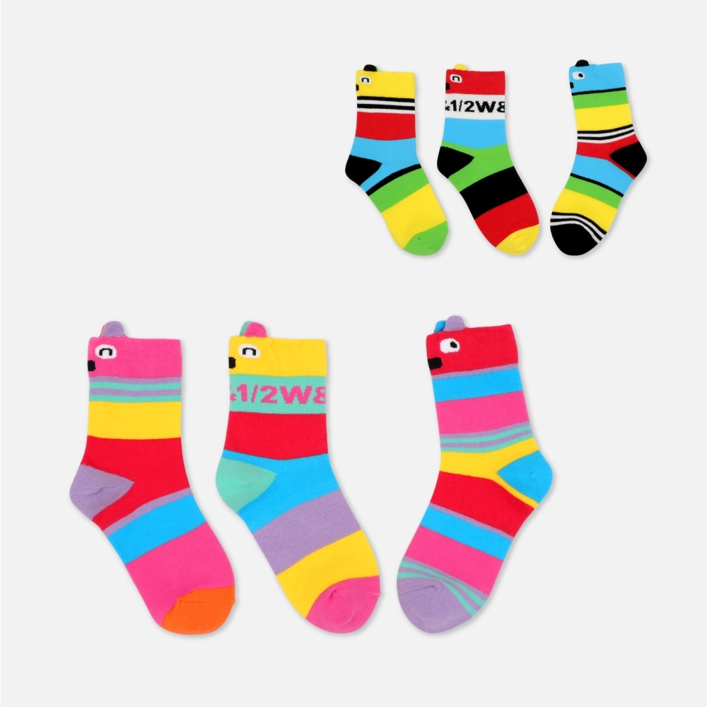 WHY AND 1/2 三隻一組條紋短襪 多色可選