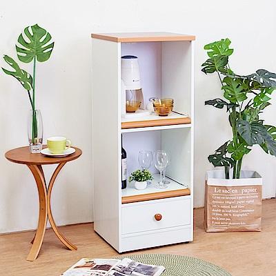 Birdie南亞塑鋼-1.5尺一抽二拉盤塑鋼電器櫃/餐櫃(白+原木)44x41x115cm