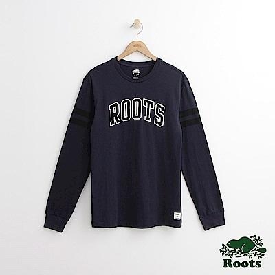 Roots 男裝-拱形字標長袖T恤-藍色