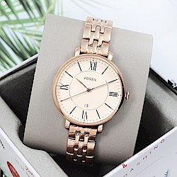 FOSSIL 美國精品手錶Jacqueline羅馬刻度金屬手錶腕錶 玫瑰金36mm
