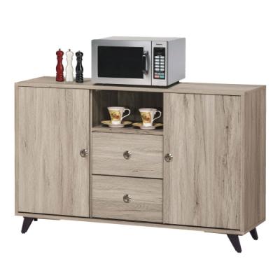 文創集 巴爾時尚4尺二門二抽餐櫃/收納櫃(二色可選)-121x40x79cm免組