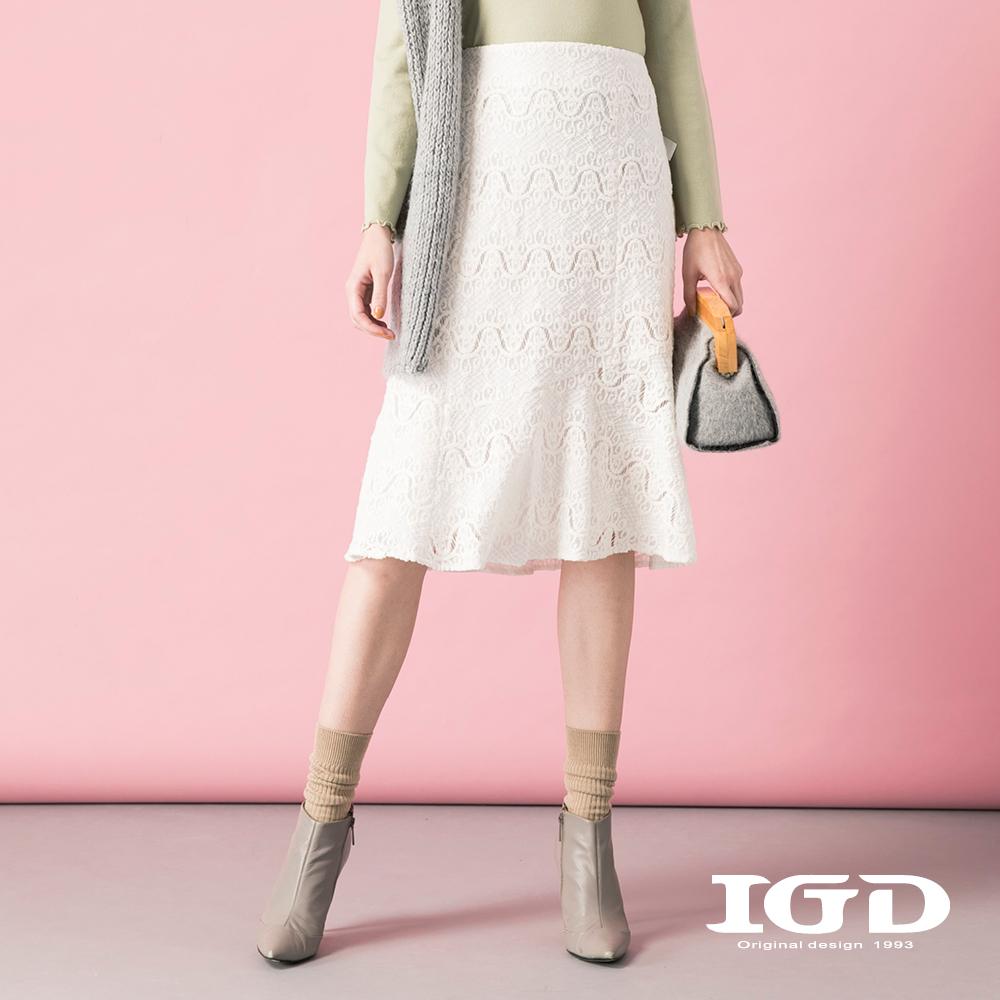 IGD英格麗 浪漫蕾絲緞帶綴飾過膝裙-白色