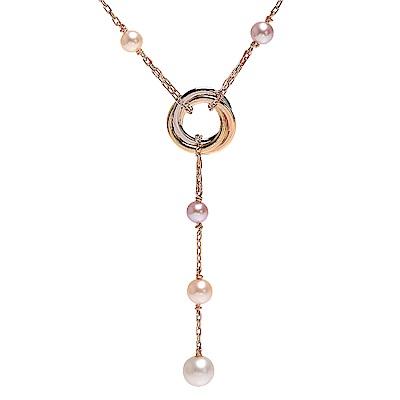 Cartier 經典TRINITY系列三環造型珍珠垂墜K金項鍊(玫瑰金)