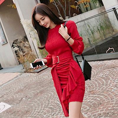 DABI 韓系修身荷葉邊抽褶包臀系帶針織長袖洋裝