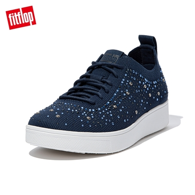 【FitFlop】RALLY OMBRE CRYSTAL KNIT SNEAKERS 運動風繫帶休閒鞋-女(午夜藍)