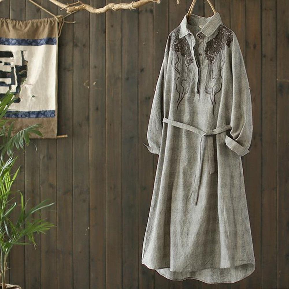 重工刺繡中長版棉麻格子襯衫裙收腰-設計所在