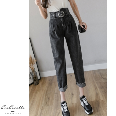2F韓衣-韓系優雅腰帶修身造型牛仔褲-2色(S~XL)