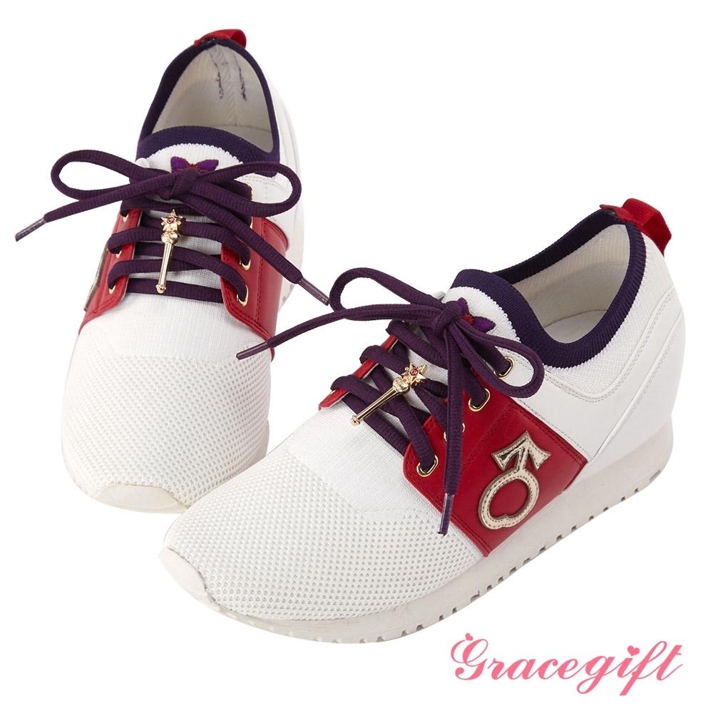 Grace gift-美少女戰士變身器針織休閒鞋 紅