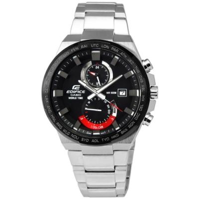 EDIFICE CASIO 決勝巔峰計時防水100米不鏽鋼手錶-黑紅色/43mm