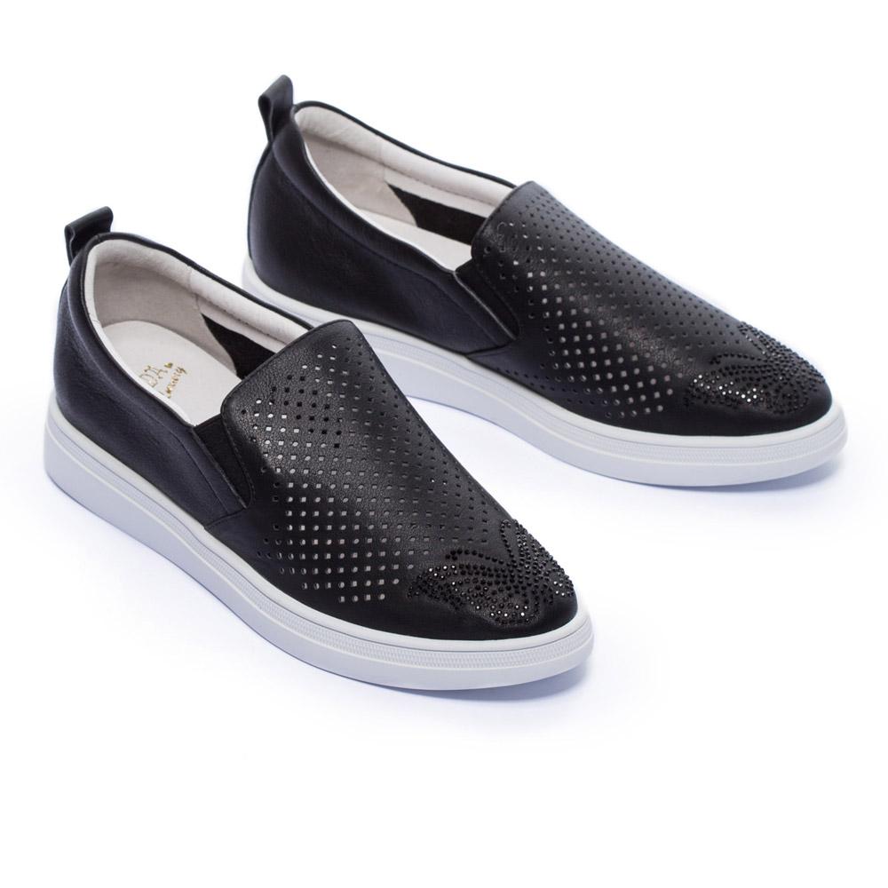 休閒鞋 MODA Luxury 華麗休閒沖孔水鑽全真皮厚底休閒鞋-黑