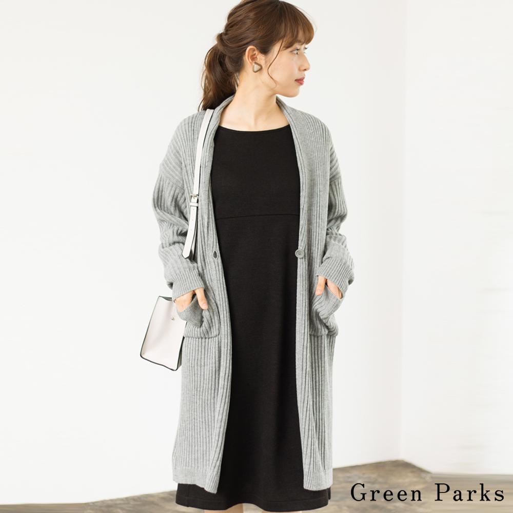 Green Parks 羅紋長版針織罩衫外套