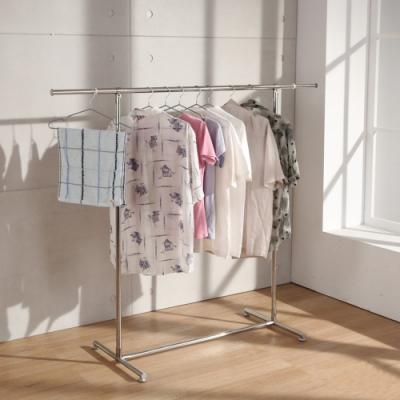 LOGIS|愛生活單桿伸縮不鏽鋼衣架 掛衣架 吊衣架 曬衣桿 晾衣架 曬衣架