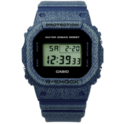 G-SHOCK CASIO卡西歐丹寧牛仔運動電子液晶防水橡膠手錶-深藍色/43mm