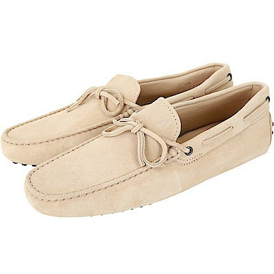 TOD'S Gommino 麂皮綁帶休閒豆豆鞋(男鞋/米色)
