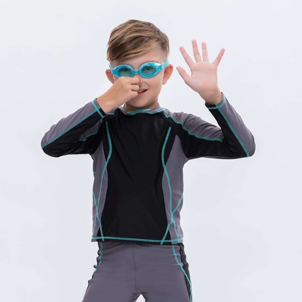 澳洲Sunseeker泳裝抗UV防曬長袖泳衣-大男童上衣/黑灰4181023CHA