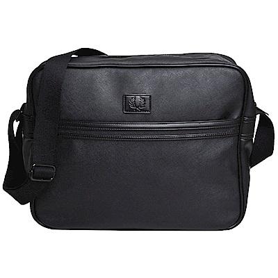 FRED PERRY 經典品牌LOGO皮標圖騰防刮材質斜背包(黑) @ Y!購物