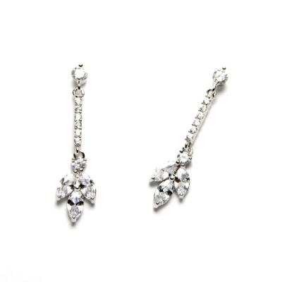STORY故事銀飾-氣質時尚耳環-Trefoil晶鋯耳環