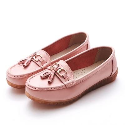 A one  牛皮莫卡辛燈籠馬銜扣鍊休閒鞋-粉色