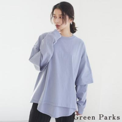 Green Parks 【SET ITEM】五分袖T恤上衣+長版T恤上衣