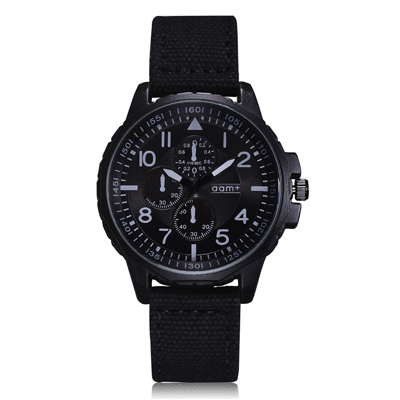 Watch-123 阿爾卑斯經典軍風仿三眼帆布手錶 (2色任選)