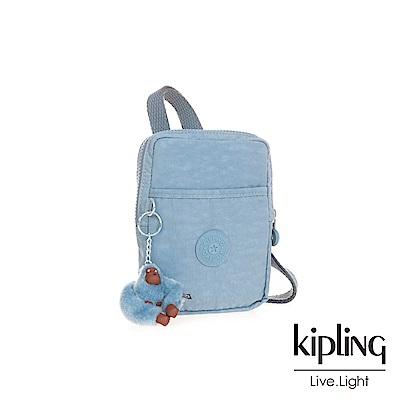 Kipling溫柔粉藍時髦側背包(中)
