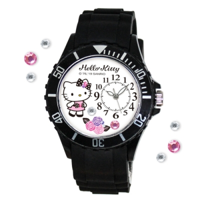 Sanrio三麗鷗偏機芯貼鑽系列運動彩帶錶-Hello Kitty個性凱蒂貓40mm黑色