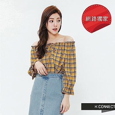 H:CONNECT 韓國品牌 女裝-格紋一字領綁結上衣-黃