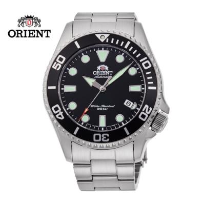 ORIENT 東方錶 WATER RESISTANT系列 200m潛水錶 鋼帶款 黑色 RA-AC0K01B - 43.4mm